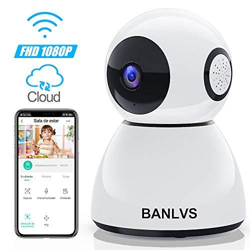 BANLVS 1080P Cámara IP WiFi, Cámara de Vigilancia WiFi Interior FHD con Visión Nocturna, Detección de Movimiento, Audio de 2 Vías, Vigilancia de Seguridad para Hogar/Bebé/Mascotas