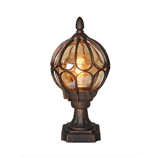 CHIFAN E27 Retro Metal Column Headlight Pillar Post Lamps, Traditional Victorian Globe Column Light Lantern, Classic Aluminium Glass Outdoor Waterproof Lamp (Color : Metallic)