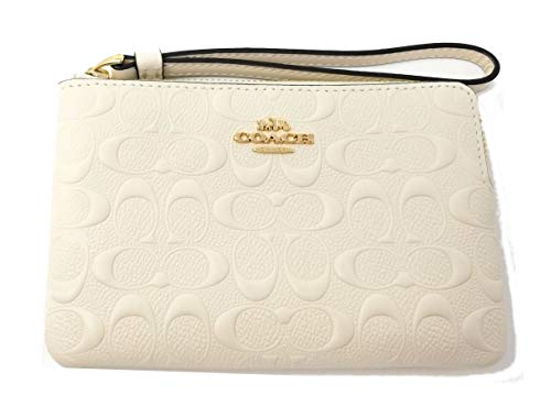 Coach F67555 Signature Leather Corner Zip Wristlet (IM Chalk)
