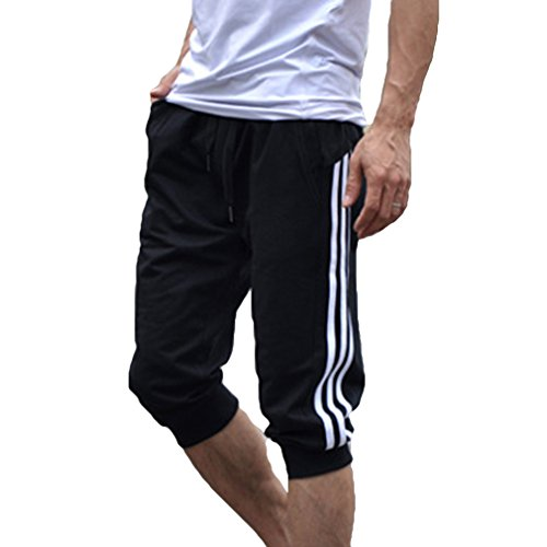 hibote Männer Sport Sweat Hosen Shorts 3/4 Jogginghose Gym Cotton Casual Hosen Weiß L