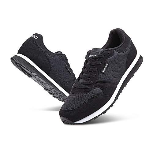 Zapatillas Hombre Mujer Casual Sneaker Gimnasio Cómodos Clásico Zapatos Deportivas Running Negro 2 Talla 42