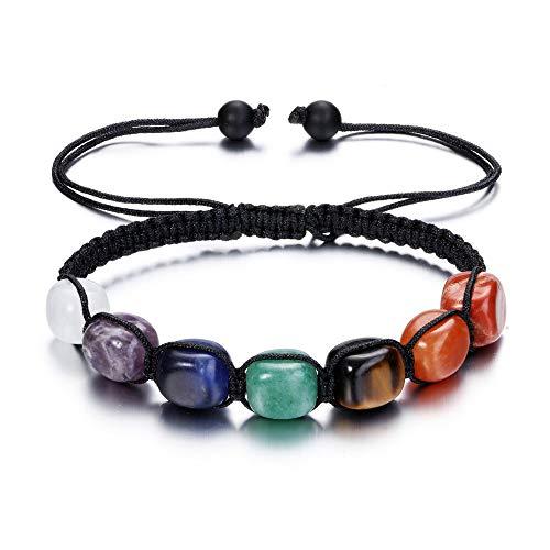 JSDDE Schmuck, 7 Chakra Armband Perlenarmband aus Edelstein Heilstein Armreif Energie Pyramide Reiki geflochten einstellbar Armband für Frauen Männer (Rechteck Steine)