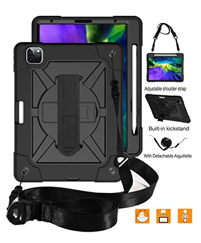 """iPad Pro 11 2nd Gen 2020 & 2018 Case, UZER Heavy Duty Shockproof Anti-Slip Kickstand Silicone Rugged Three Layer Armor Protective Case with Pencil Holder&Shoulder Strap for iPad Pro 11"""" 2020 & 2018"""