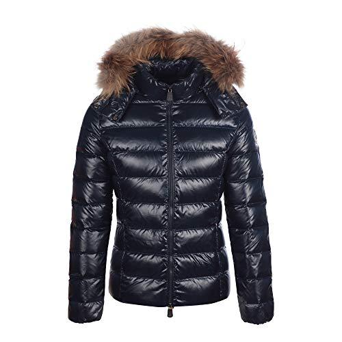 JOTT Damen Daunenjacke Steppjacke Winter Jacke mit Kapuze Pelz Besatz Fellkragen Gefüttert (XL, Marine)