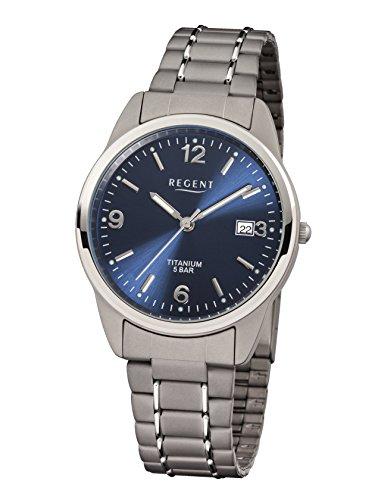 Regent 11090247 - Reloj analógico de cuarzo para hombre con correa de titanio, color gris