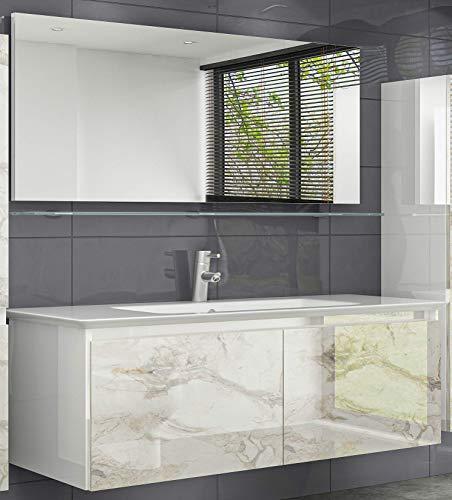 HOMELINE Badmöbelset 120 cm Weiss Diana Marmor Optik Fronten Waschbeckenunterschrank mit Keramik Becken Spiegel Glas Ablage ohne Hochschränke