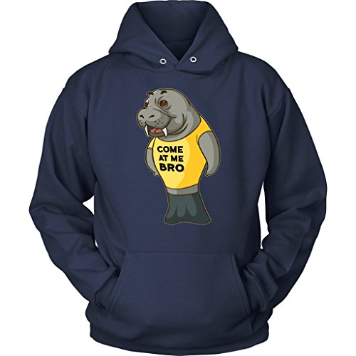 Manatee Come at Me Bro Commercial Novelty Hoodie Sweatshirt for Men Women  (Navy, Medium)