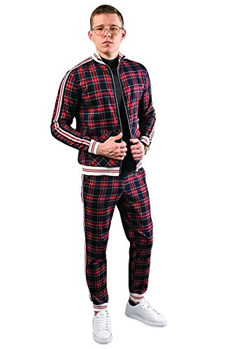 WBLKD 2 Stück Herren Trainingsanzug Outfit Plaid Long Sleeve Zipper Sweatshirt Und Hosen Set B-XL