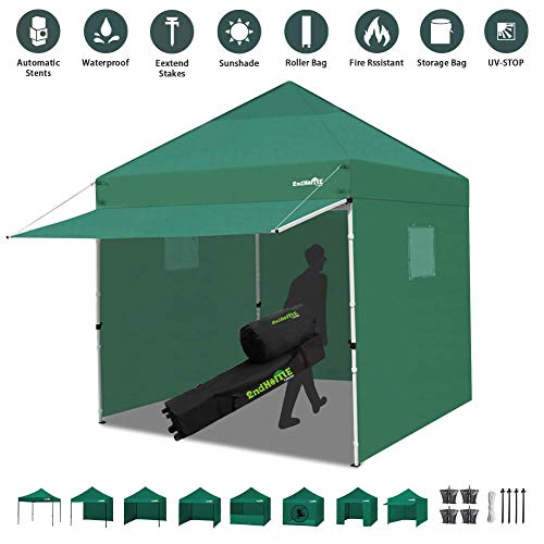 Canopy Tent 10 x 10 Heavy Duty Pop-up Instant Shelters Outdoor Commercial Portable Canopy Tent Market Canopies Sidewalls Weight Bags Roller Bag Net Wall Canopy Awning Storage Bag Canopy (Green)
