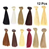 SUPVOX DIY Doll Wigs Straight Hair Wig Handcraft Weft Hair Extensions 12pcs 100x15cm