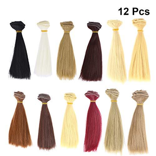 Supvox - Parrucche per bambole fai da te, con capelli dritti, 12 pezzi, 100 x 15 cm