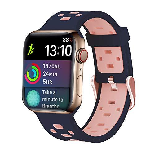 iBazal Correa Compatible con iWatch Series 6 SE 5 4 3 2 1 Correas 40mm 38mm Silicona Caucho Pulseras Bandas de Reemplazo con Estuche TPU reemplazo para Apple Watch Mujeres Reloj - Azul/Rosa 38/40