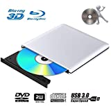 Lecteur Graveur DVD Externe Blu Ray 3D USB 3.0 Portable Ultra Slim Graveur de DVD CD-RW pour Mac OS,...