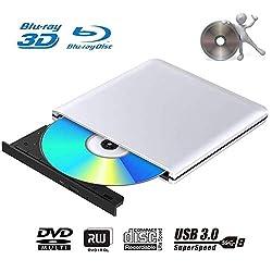 ♫【Lecture Blu Ray DVD】: Le lecteur de DVD Blu-Ray lit les CD jusqu'à 24 fois, les disques DVD jusqu'à 8 fois et les disques Blu-Ray jusqu'à 6 fois ♫【Haute Compatibilité】: Le lecteur Blu-ray externe peut être utilisé dans divers appareils. Plug and Pl...