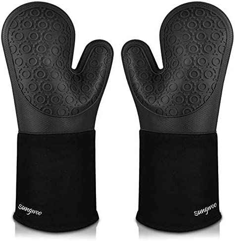 Sungwoo Extra Long Silicone Oven Mitts Durable Heat Resistant Oven Gloves with Quilted Liner product image