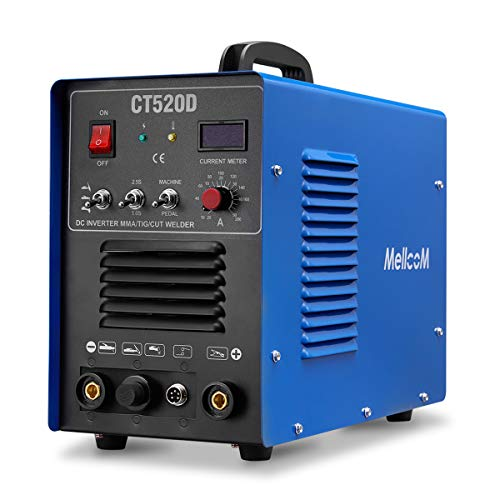 Mellcom CT520D Welding Machine 50Amp Plasma Cutter, 200Amp TIG Welder 3 in 1 Multifunctional TIG/MMA/Plasma Cutter, 110/ 220V Dual Voltage 1/2 Inch Clean Cut with LCD Display