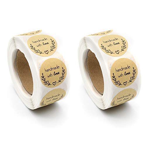 1000 piezas hechas a mano con pegatinas de amor, pegatinas redondas de papel Kraft para hornear bolsas de regalo decoración de sobres de cumpleaños de Acción de Gracias de boda