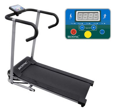 Biosync Foldable Running Machine Powered Treadmill with Safety Auto-Stop Mode 1-10Km/hr Speed Control, Computer w/Scan, Speed, Time, Distance & Calories