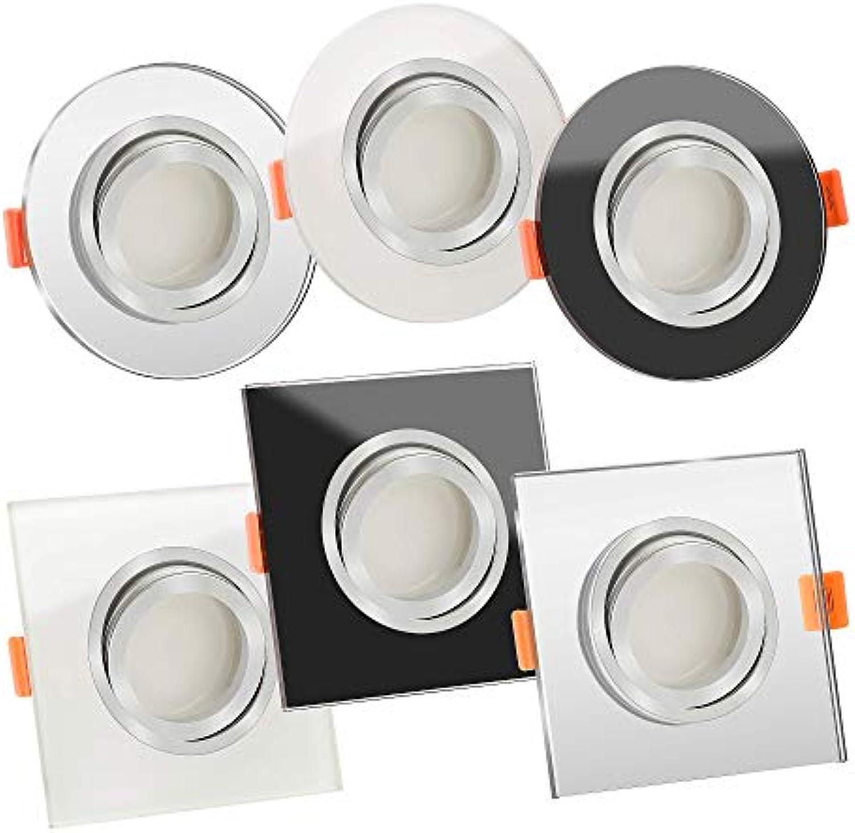 5x Premium LED Einbauleuchte Glas & Aluminium 230V  25mm flach  DIMMBAR  6W statt 70W  120° Abstrahlung & schwenkbar  warmwei 3000K  Lista Vidrio SP (Auen wei & Innen matt - Eckig)