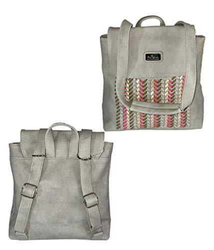 Mochila de mujer, de Hombro o bandolera casual, convertible en mochila, Multifuncional para trabajo estudios viaje regalos, Bolsa Tote Shopper de Mano, Diseño hecho a mano (GRIS)