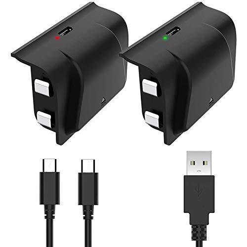 Manette Xbox One Batteries, 2 Pack 1200mAh Rechargeable Batteriespour Xbox One/One S/One X/One Elite avec Micro USB Câble