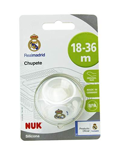 NUK Genius, Chupete del Real Madrid para Bebé de Silicona con Tetina Anatómica en Forma de Pezón Materno, Color Blanco, 18 a 36 meses.
