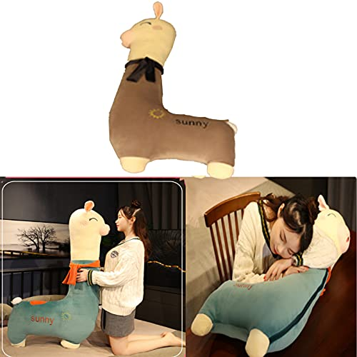 Wearing a Scarf with a Long Neck Alpaca Pillow Plush Toys, Cartoon Alpaca Plush Toy Sofa Pillow Cushion, PP Cotton Padded Snuggle Pillow, Sleeping, Watching TV, Birthday Gift Girl (Gray, 70cm)
