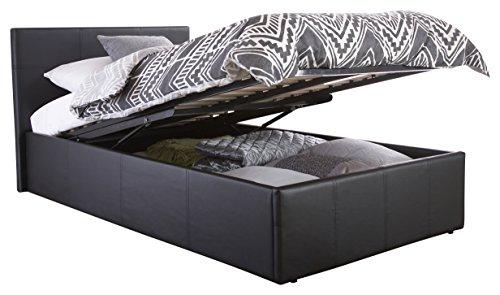 Cama individual Denver con canapé (90 cm), piel sintética, negro, 90 x 190 cm