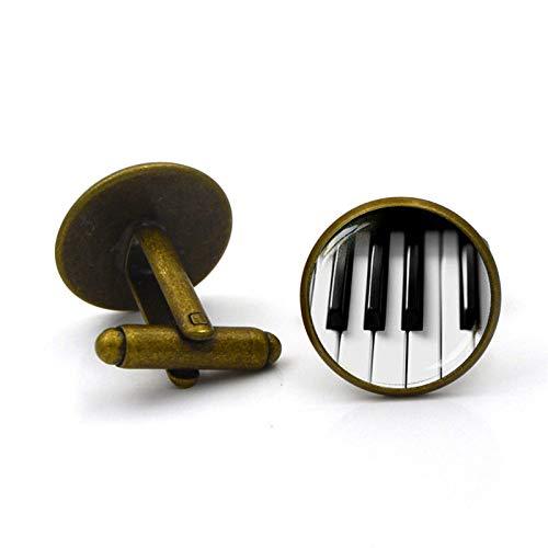 LiqianHOT Exquisite Accessoires, Vintage Piano Toetsenbord Sieraden Manchetknopen Muziek Liefhebbers Manchetknopen Sieraden