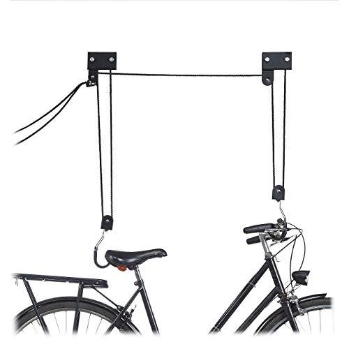 Relaxdays, schwarz Fahrrad Deckenlift, 45 kg Traglast, mit Haken, universal, mit Seilbremse, Seilzug, Kajak, Fahrradlift, One Size