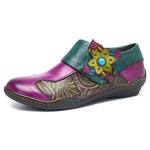 Socofy Mocasines Zapatos De Mujer De Cuero Mujer Zapatos De Ballet Mocasines Zapatos Casuales Mujer Primavera Verano Informal Plano Cómodo Cuero Redondo Cabeza Mocasines Zapatillas Zapatos De Barco