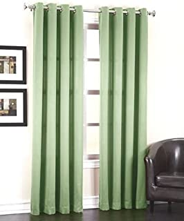 """JHF 1 Panel Solid Black 55"""" Wide X 84"""" Length Lined Foam Blackout Heavy Thick Window Treatment Curtain Drapes Silver Grommets (Sage)"""