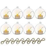 Nuptio 8 Pezzi 8cm Portacandele Vetro Appendere Globo con LED Tealight, Terrari di Piante Sfere Vetro Piante d'Aria Portacandele Luce del tè Matrimonio Natale Decorazioni per Casa Giardino Esterno
