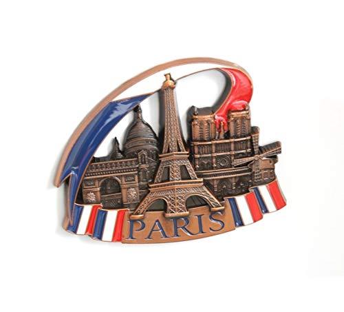 Imanes de nevera decorativos, fabricados con metal, diseños de Venecia, París, Roma, Praga, Ámsterdam, Barcelona, Dubai y Tailandia, ideales como regalo de recuerdo, metal, Silver Paris