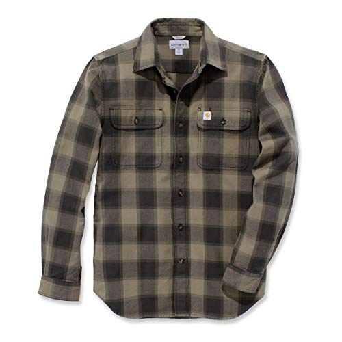 Carhartt Hubbart Slim Fit Flannel Hemd, Größe:L, Farbe:Olive