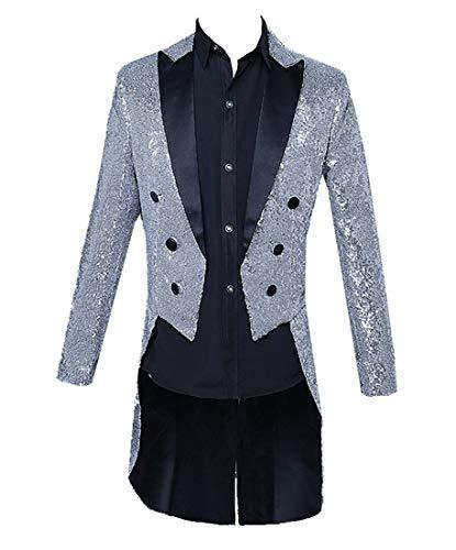 [MANMASTER(マンマスター)] 燕尾服 スワローテールド ジャケット スパンコール ステージ衣装?メンズ CH489 (XL, シルバー)
