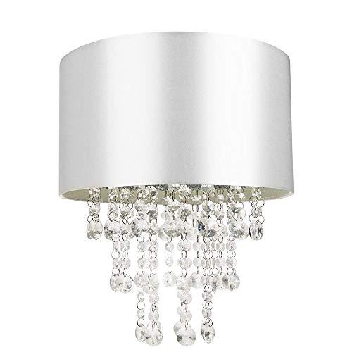 Modern grå hängande ljusskärm av satängtyg med genomskinliga akryldroppar