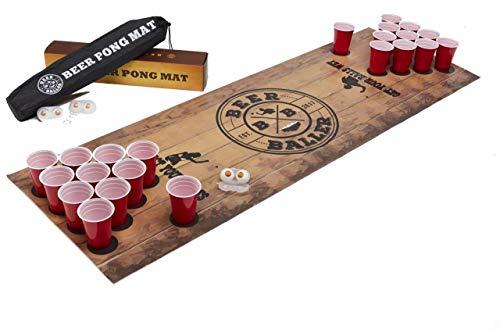 BeerBaller® Beer Pong Matte – Bierpong-Matte Trinkspiel zum Mitnehmen und überall Spielen als Set inkl. 50 Red Cups + 4 Bier-Pong Bälle + 2 Bällehalter + praktische Tragetasche
