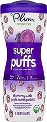 Plum Organics Super Puffs, Organic Baby Puffs, Blueberry with Purple Sweet Potato, 1.5 Ounce