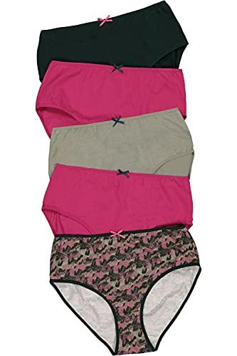 Ulla Popken Damen 796250 Slips, 5er-Pack, Camouflage, Uni, Multicolor, 50+