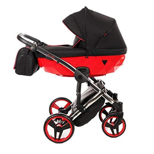 Junama Kinderwagen Kombikinderwagen Premium Buggy Babyschale +Zubehör Isofix Wählbar Diamond S by Ferriley & Fitz Chilly Red 01 3in1 mit Babyschale