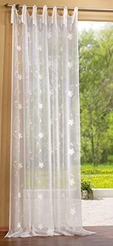 Schmidt Gard Bindebandschal Schlaufenschal Vorhang   wollweiß   BxH 140x245cm   Bestickt mit Blumen und Blätterranken  