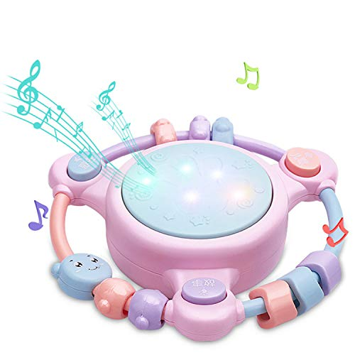 QPPWJ- Musikspielzeug Trommeln, Kinderspielzeug, Musik, Handtrommel, Licht, Trommel, 0-3 Jahre Alte Baby-Früherziehung Geschichte, Lernspielzeug, Urlaub Spielzeug Geschenk