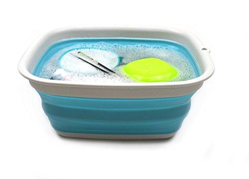 41kxhaOe9LL - SAMMART 9.45L (2.5 Gallon) Collapsible Tub - Foldable Dish Tub - Portable Washing Basin - Space Saving Plastic Washtub (Bright Blue, M)