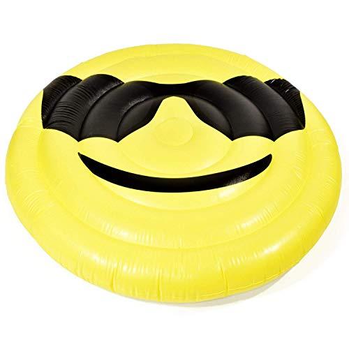 Premium Luftmatratze Smile (174 cm Durchmesser) Matratze aufblasbar Luft Matratze Luftbett Liege Schwimmliege Schwimmring Schwimm Ring Pool Lounge Smiley gelb rund