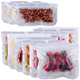 Greenzla Reusable Storage Bags (12-Pack) – Leakproof Reusable Ziplock Lunch Bags - Extra