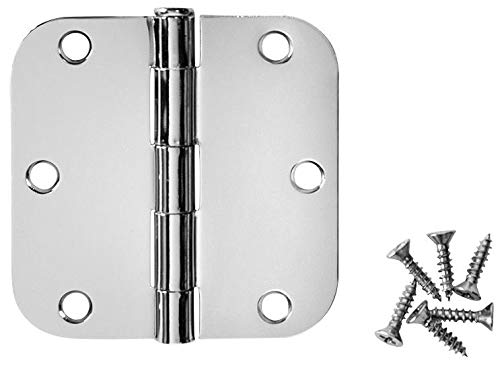 50 Pack - Cosmas Polished Chrome Door Hinge 3.5' Inch x 3.5' Inch with 5/8' Inch Radius Corners - 24091