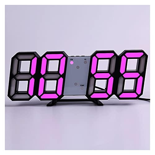 SPFCJL LED Digital Reloj de Pared Alarma Fecha Temperatura Automático Retroiluminación Mesa Mesa Desktop Decoración del hogar Soporte Soporte Relojes de suspensión (Color : Wall Clock 7)