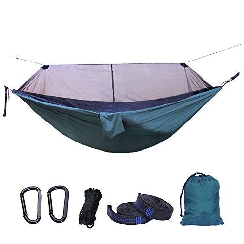 HJM Grand hamac de Camping Portable avec moustiquaire et Poches latérales, Gaze de Polyester Durable et Respirante pour Le Camping et la randonnée