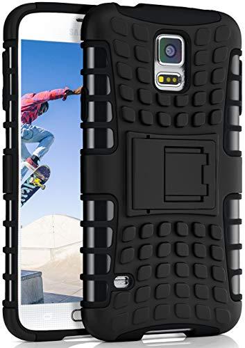 ONEFLOW Tank Hülle kompatibel mit Samsung Galaxy S5 / S5 Neo - Hülle Outdoor stoßfest, Handyhülle mit Ständer, Kamera- & Displayschutz, Handy Hardcase Panzerhülle, Obsidian - Schwarz